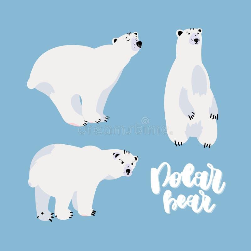 Gullig isbjörnuppsättning vektor illustrationer