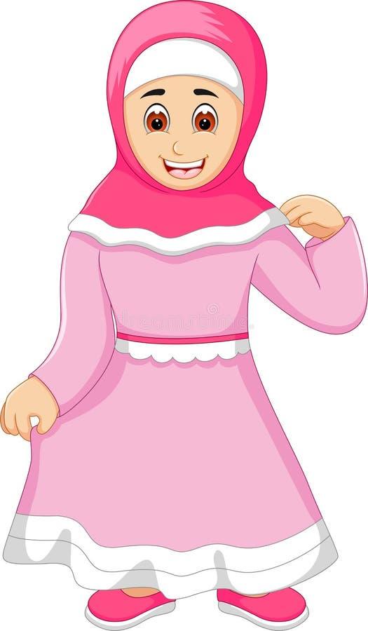 Gullig islamisk kvinnatecknad filmposinig med leende stock illustrationer