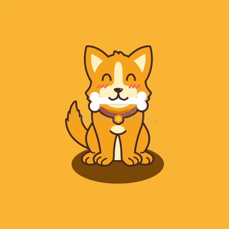 Gullig isolerad hundillustrationvalp stock illustrationer