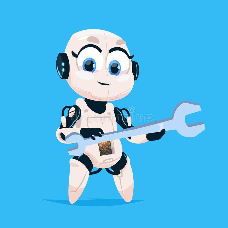 Gullig isolerad symbol för robothållskiftnyckel Robotic flicka på begrepp för konstgjord intelligens för teknologi för blå bakgru stock illustrationer