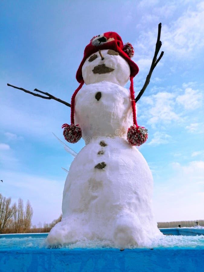 Gullig jätte- snögubbe med en Red Hat arkivbild