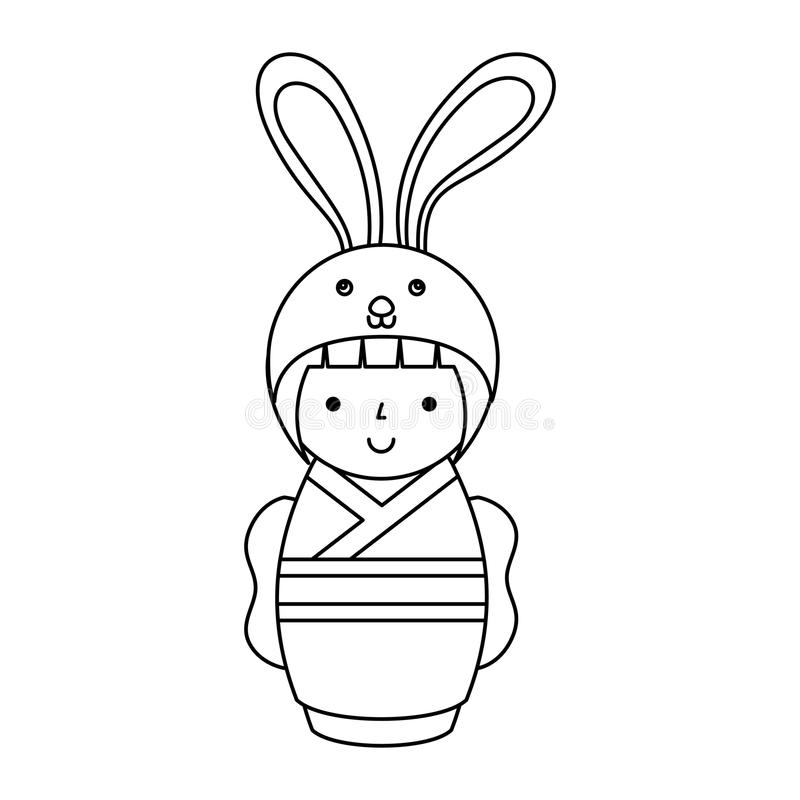 Gullig japansk docka med en förklädnad av en kanin vektor illustrationer