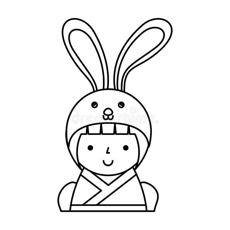 Gullig japansk docka med en förklädnad av en kanin royaltyfri illustrationer