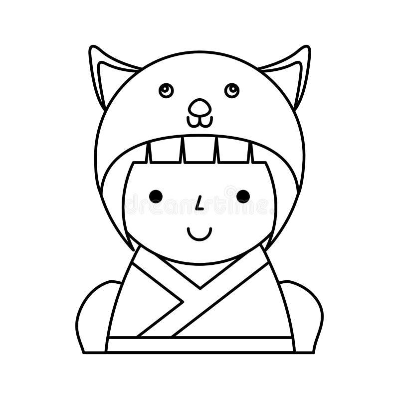 Gullig japansk docka med en förklädnad av en mus royaltyfri illustrationer