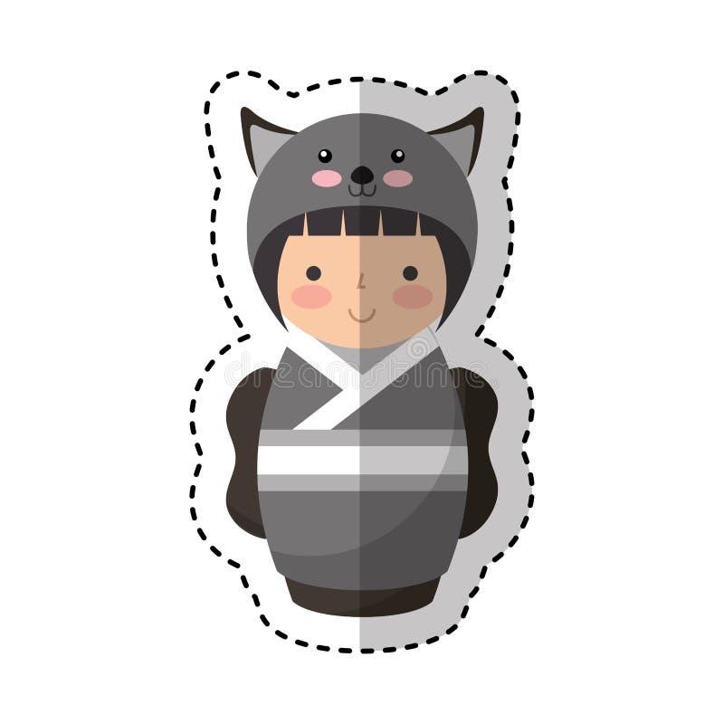 Gullig japansk docka med en förklädnad av en mus stock illustrationer