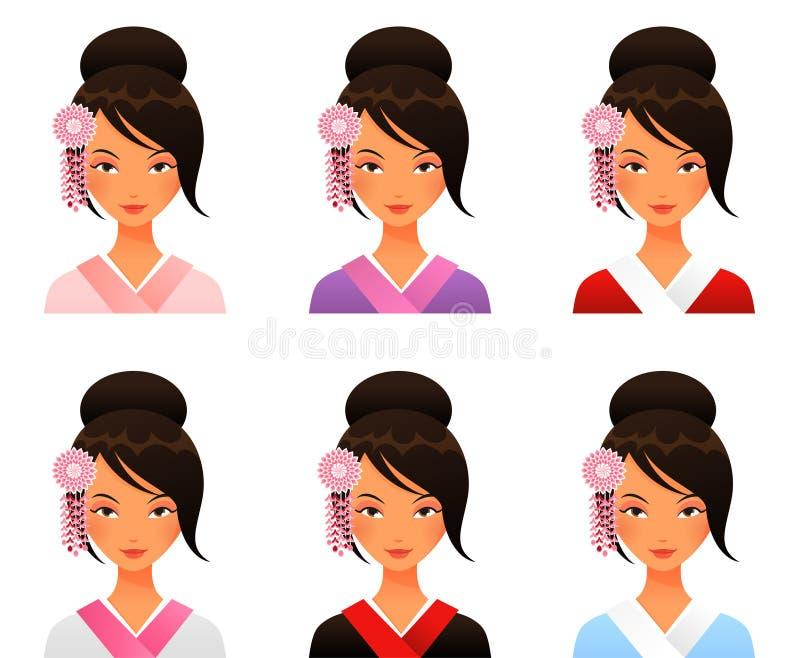 Gullig japansk flicka i kimono royaltyfri illustrationer