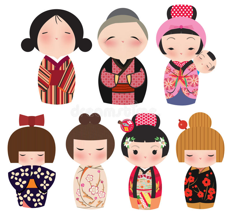 gullig japansk kokeshiserie för tecken royaltyfri illustrationer