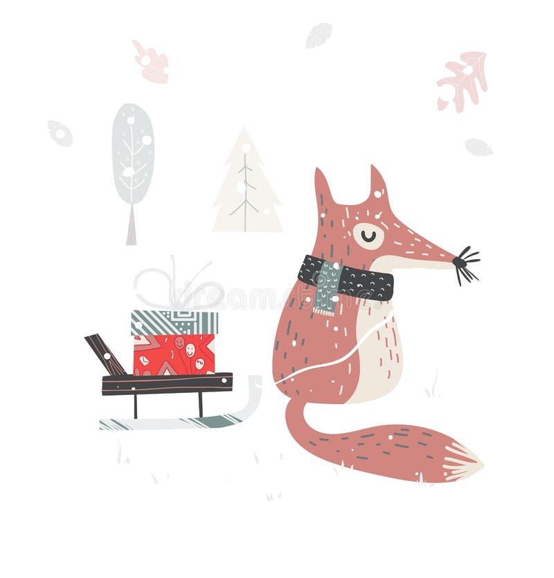 Gullig jul behandla som ett barn räven som omges med blom- garnering Vektorillustarationen för dig projekterar royaltyfri illustrationer