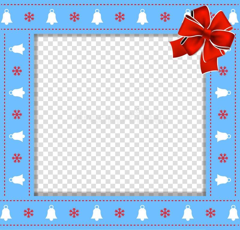 Gullig jul eller blå gräns för nytt år med xmas-klockor, snöflingamodellen och den röda pilbågen på genomskinlig bakgrund stock illustrationer