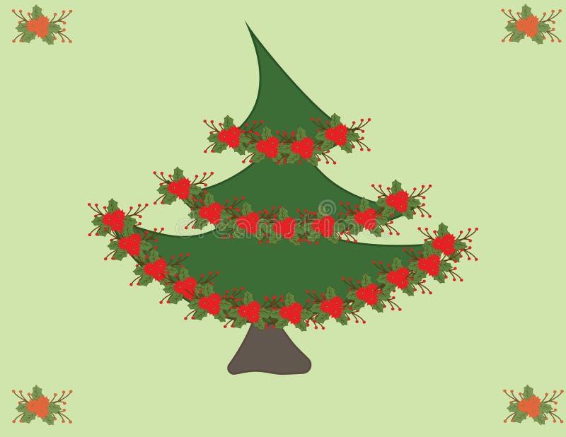 Gullig julgran för ditt dig vänner och familj stock illustrationer