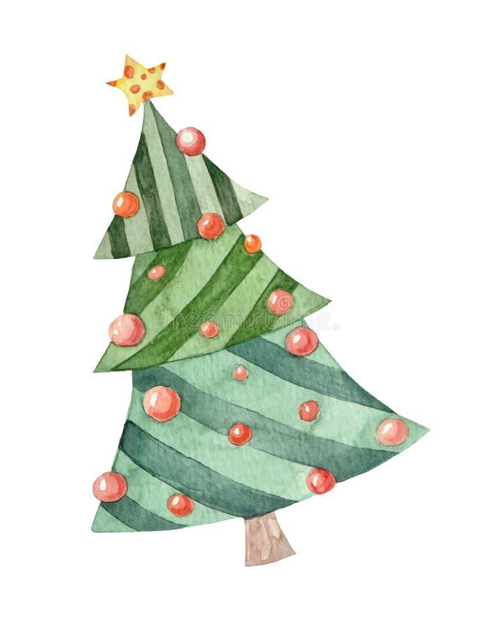 Gullig julgran för vattenfärgillustration vektor illustrationer