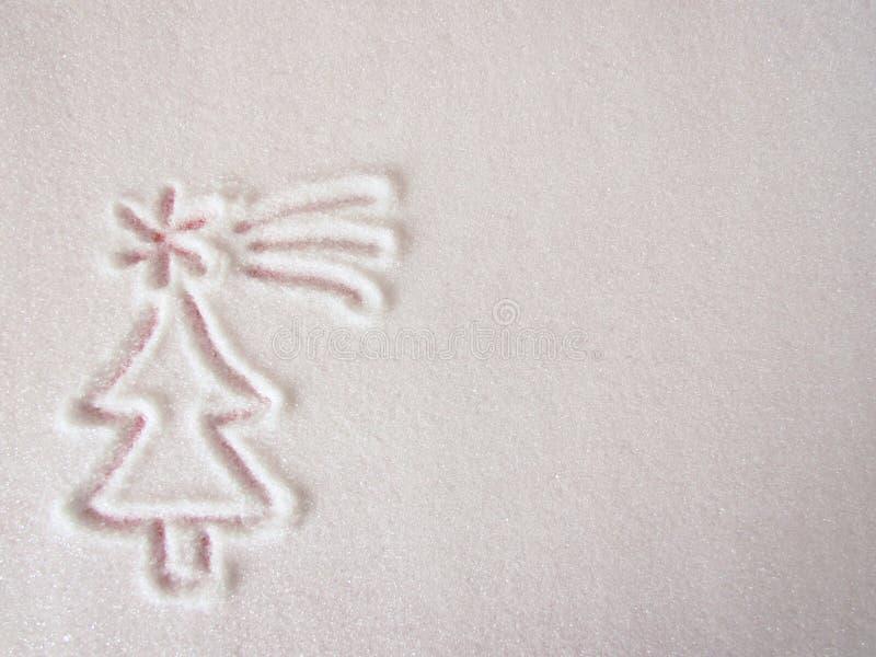 Gullig julgranlineart som dras i ett lager av socker royaltyfri bild