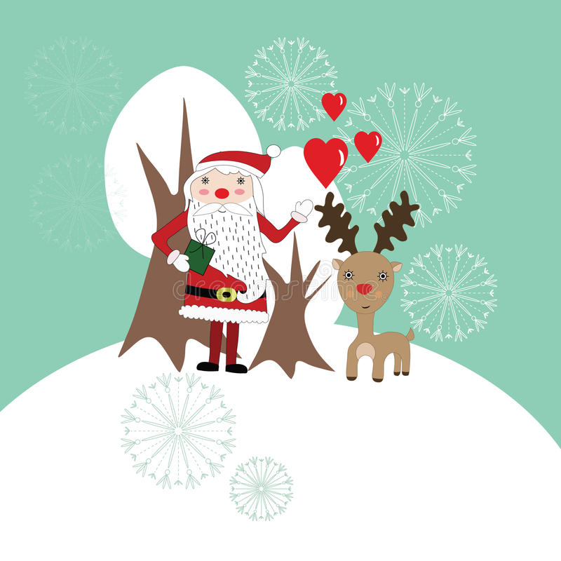 Gullig julkort med Santa Claus och renen royaltyfri illustrationer