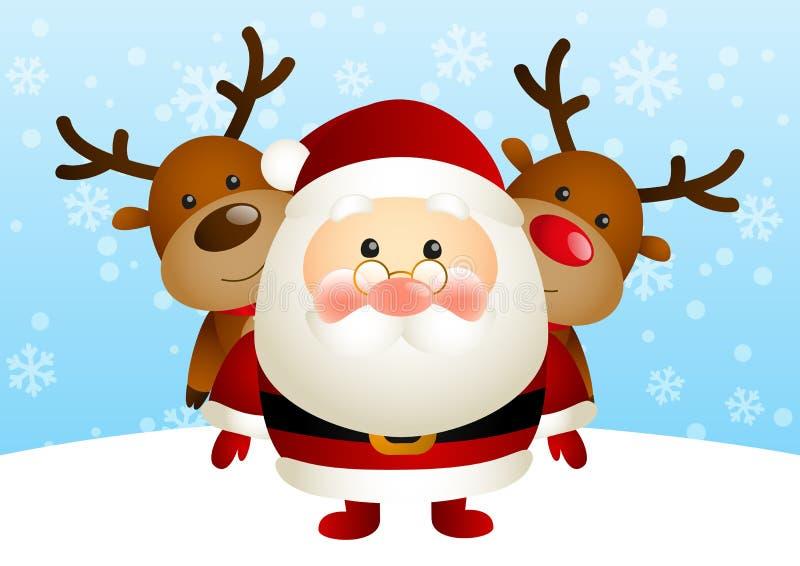 Gullig jultomten med deers royaltyfri illustrationer