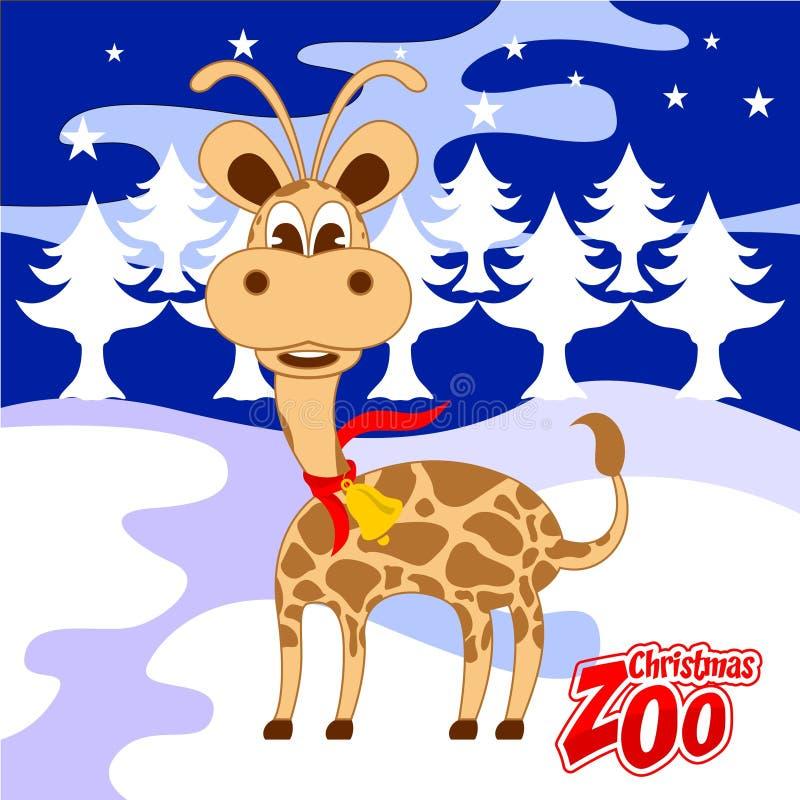 Gullig julzoo för giraff royaltyfri illustrationer