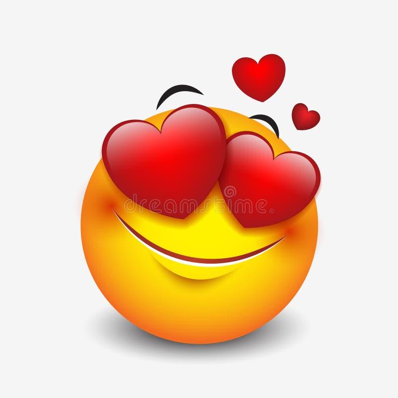 Gullig känslig förälskad emoticon på vit bakgrund - emojien, smiley - vektorillustration vektor illustrationer
