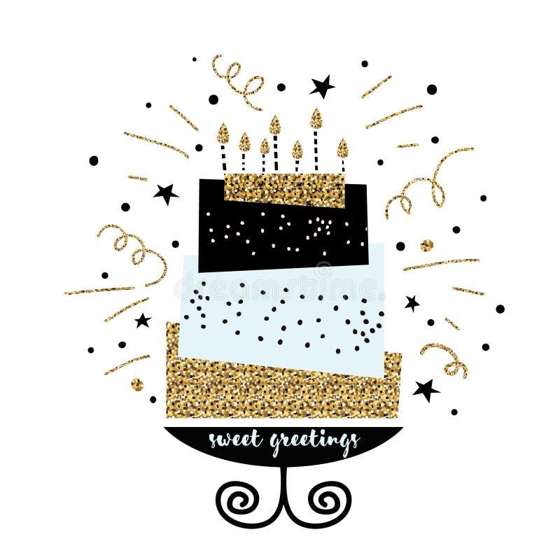 Gullig kaka med önska för lycklig födelsedag Modern mall för hälsningkort Idérik bakgrund för lycklig födelsedag stock illustrationer
