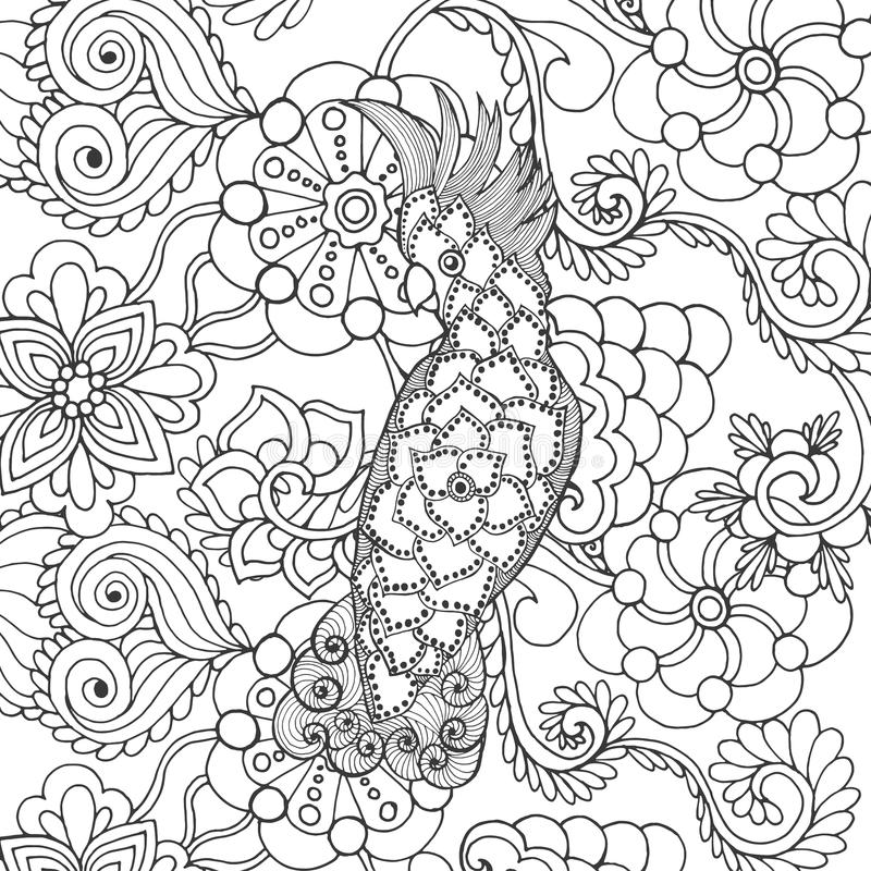 Gullig kakadua i fantasiblommor stock illustrationer