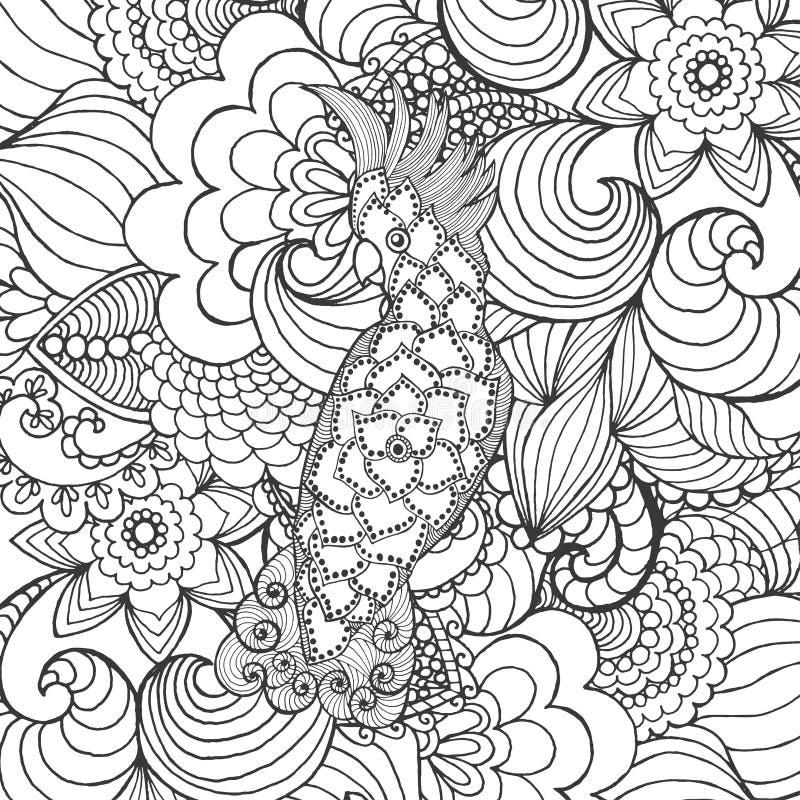 Gullig kakadua i fantasiträdgård stock illustrationer