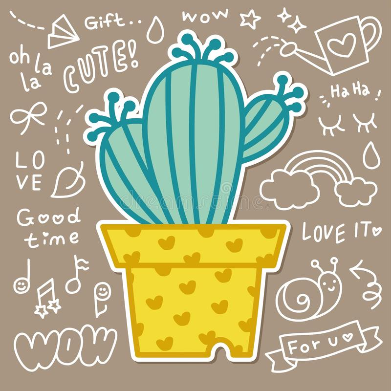 Gullig kaktus i växtkrukavektor royaltyfri illustrationer