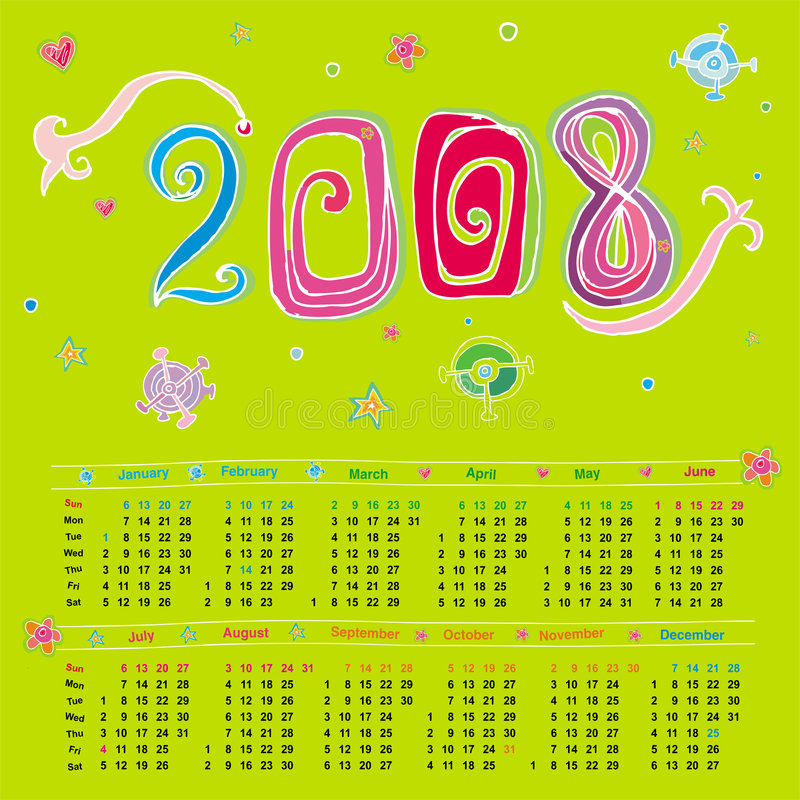 Download Gullig kalender 2008 vektor illustrationer. Illustration av blommor - 3527386