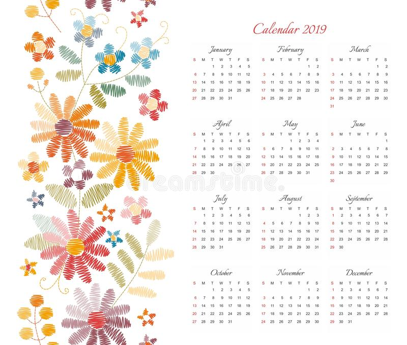 Gullig kalender för 2019 år Veckastarter på söndag Vektormall med den blom- prydnaden av färgrika broderade blommor stock illustrationer