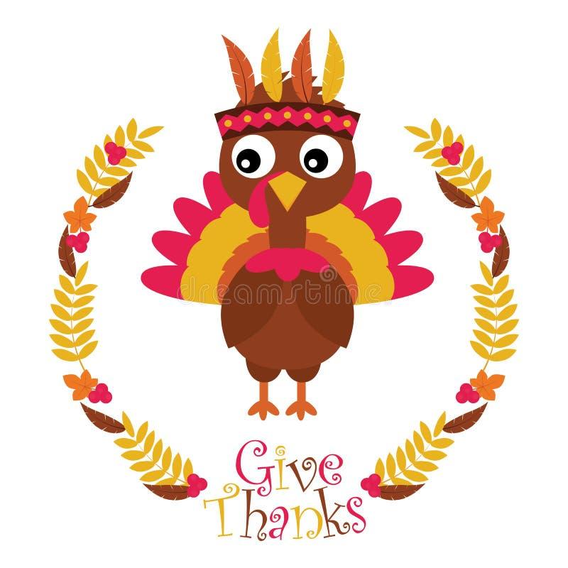 Gullig kalkon i lönnlövkransen som är passande för lyckligt tacksägelsekort stock illustrationer