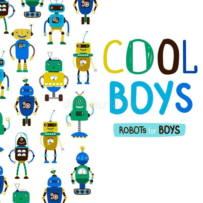 Gullig kall pojkerobotbakgrund vektor illustrationer