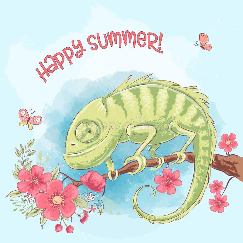 Gullig kameleont för affisch på en filial och blommor royaltyfri illustrationer