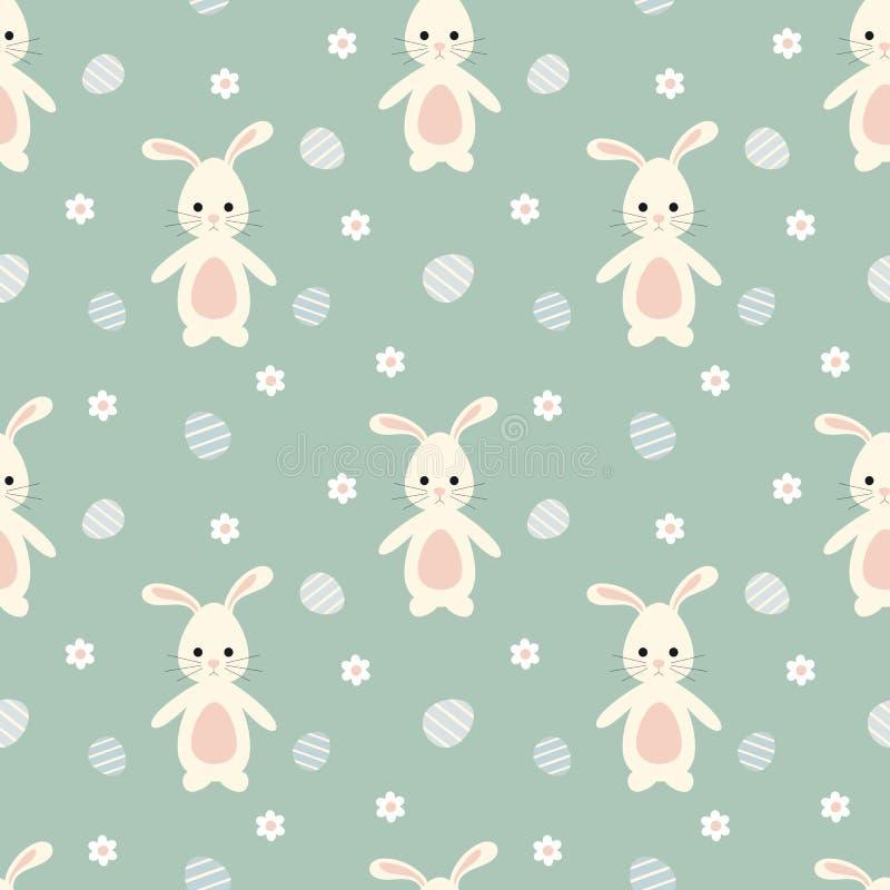 Gullig kanin för tecknad filmeaster kanin med för modellbakgrund för ägg den sömlösa illustrationen vektor illustrationer