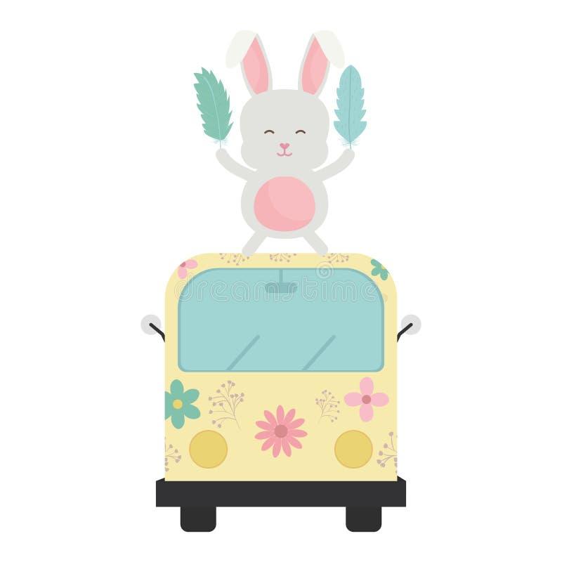 Gullig kanin i skåpbil hippie bohostil stock illustrationer