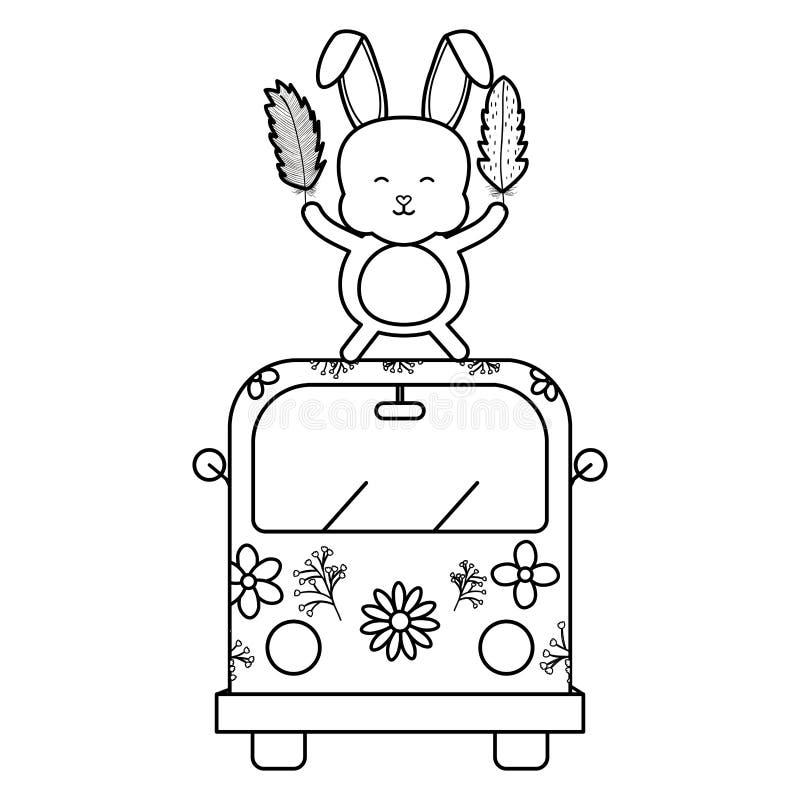 Gullig kanin i skåpbil hippie bohostil vektor illustrationer