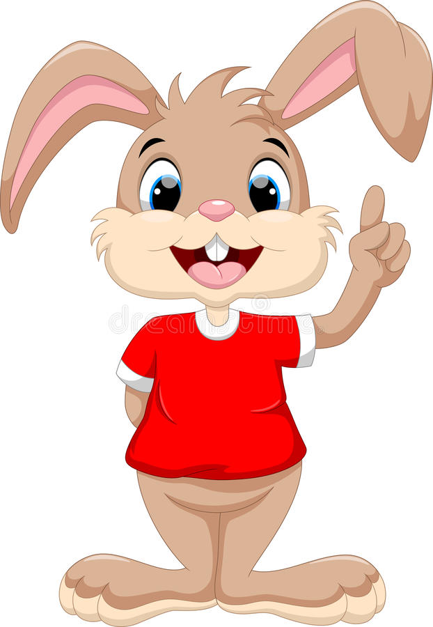 Gullig kanin lyftt pekfinger royaltyfri illustrationer