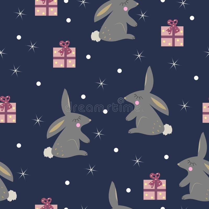 Gullig kanin med den sömlösa modellen för gåvor stock illustrationer