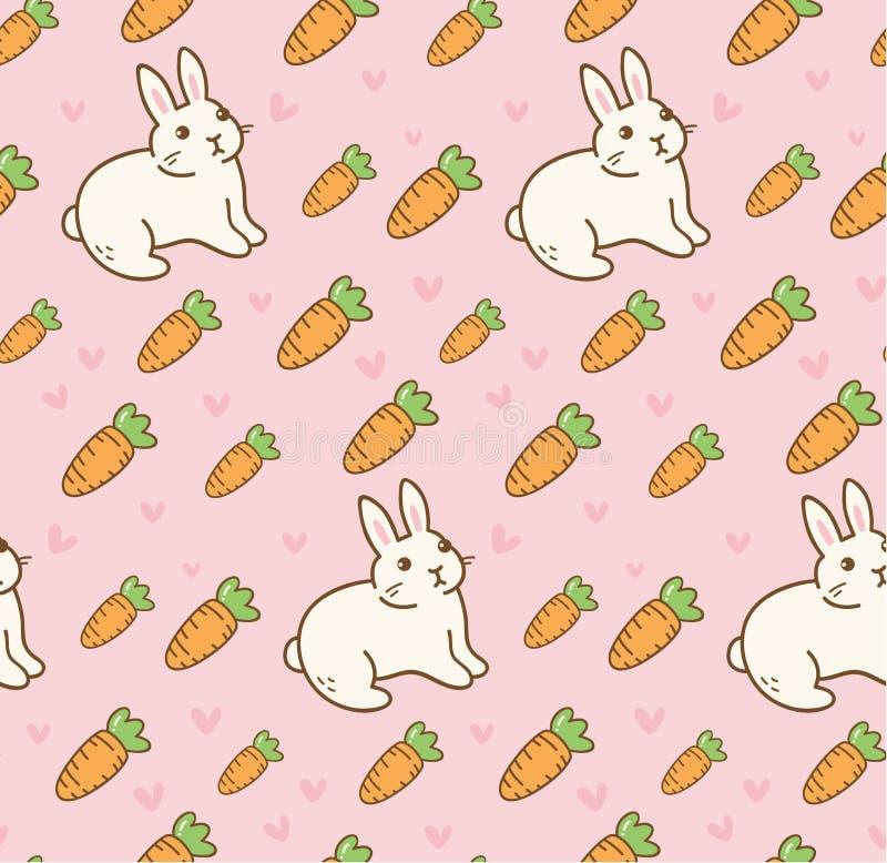 Gullig kanin med den sömlösa modellen för morot stock illustrationer