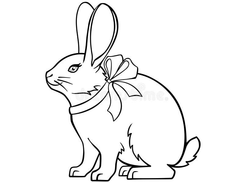 Gullig kanin med ett band runt om hans hals och stora öron Den roliga påskkaninen sitter Bild för att färga royaltyfri illustrationer