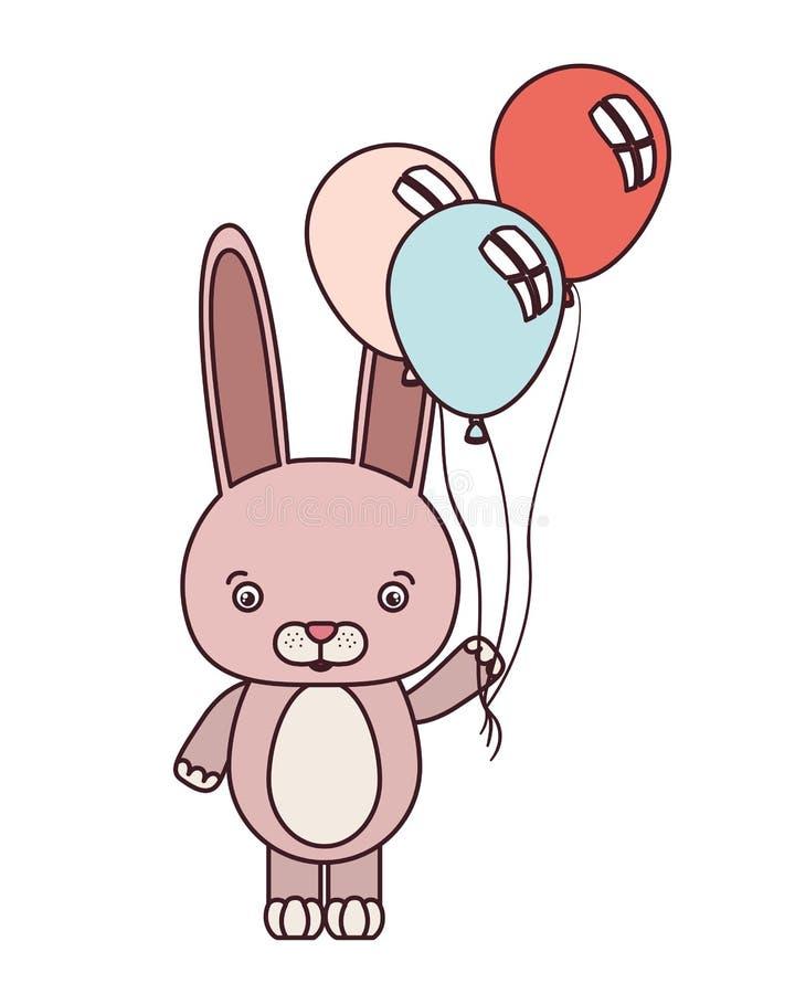 Gullig kanin med heliumballonger royaltyfri illustrationer