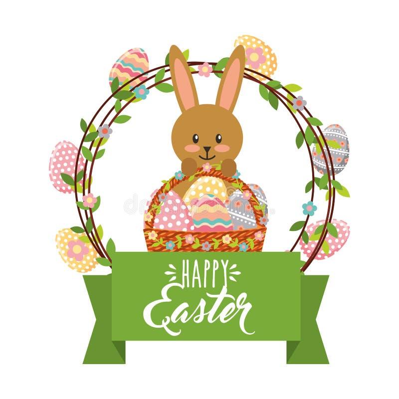 Gullig kanin med korg- och ramägggarnering lyckliga easter stock illustrationer