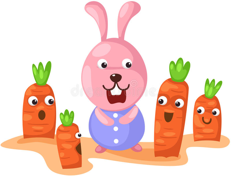 Gullig kanin med moroten royaltyfri illustrationer
