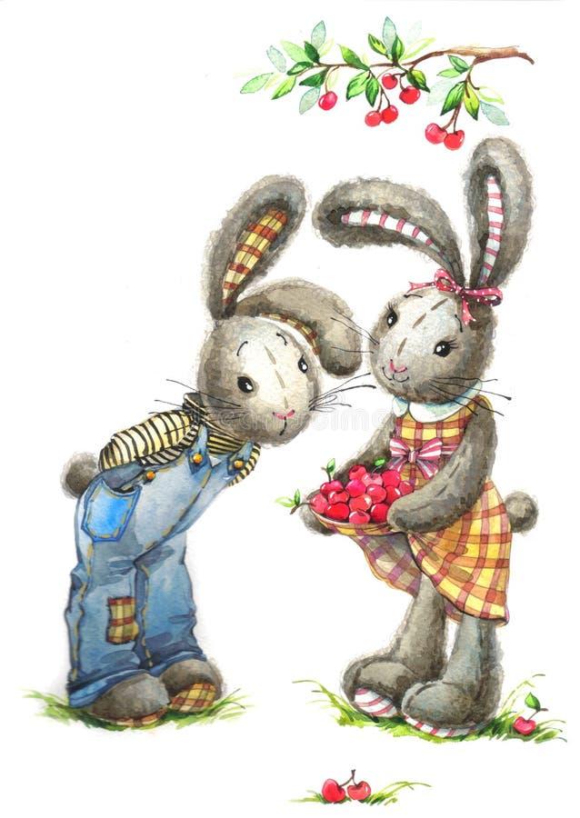 Gullig kanin och körsbär Vattenfärgkanin royaltyfri illustrationer