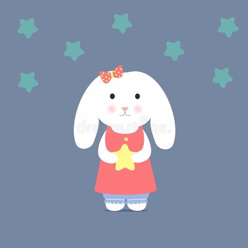 Gullig kanin som rymmer en stjärna vektor illustrationer