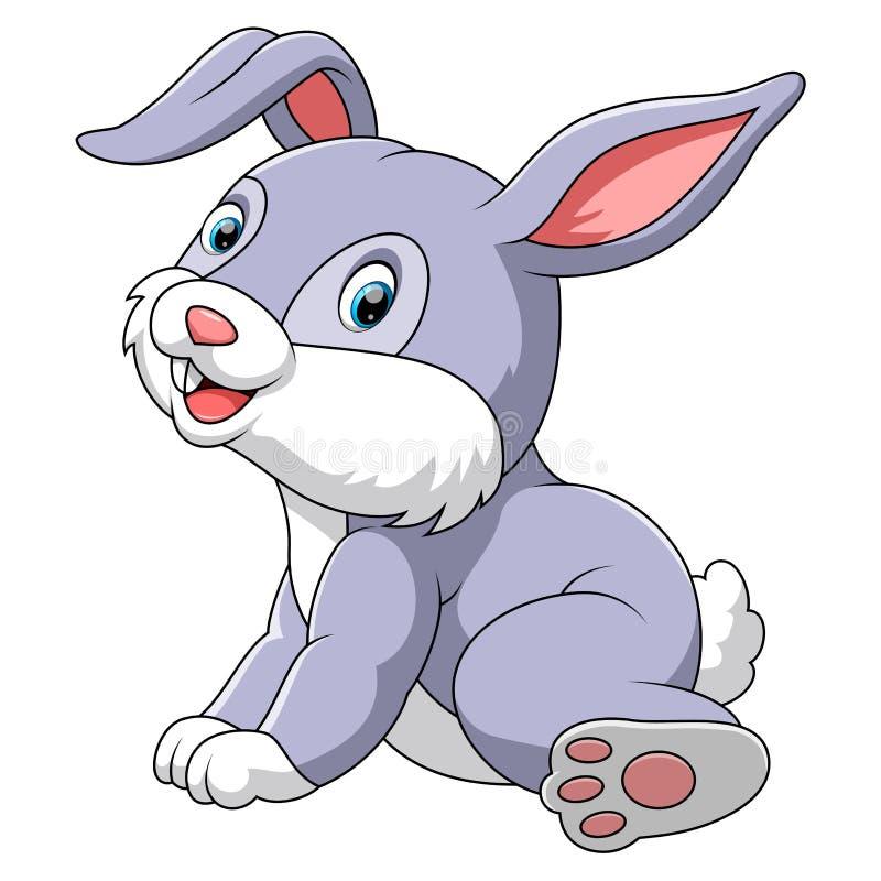 Gullig kanin som sitter med vit bakgrund stock illustrationer