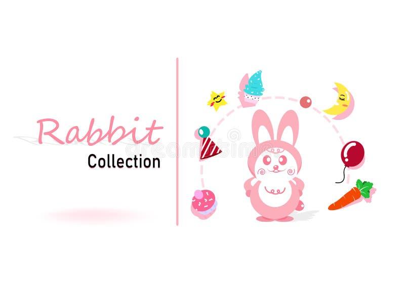 Gullig kanin ställer in samlings-, beröm-, parti- och ferierosa färger vektor illustrationer