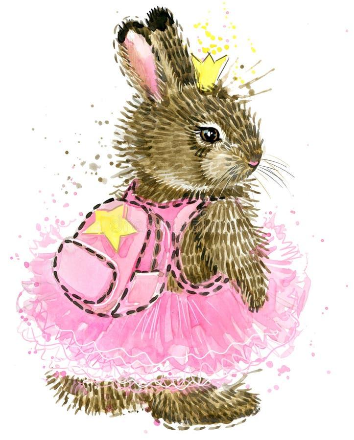 gullig kanin Vattenfärgkanin kanin Lös kaninvattenfärg stock illustrationer