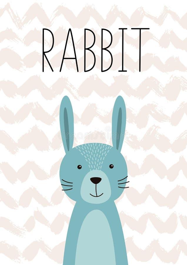 gullig kanin vektor Affisch kort för ungar vektor illustrationer