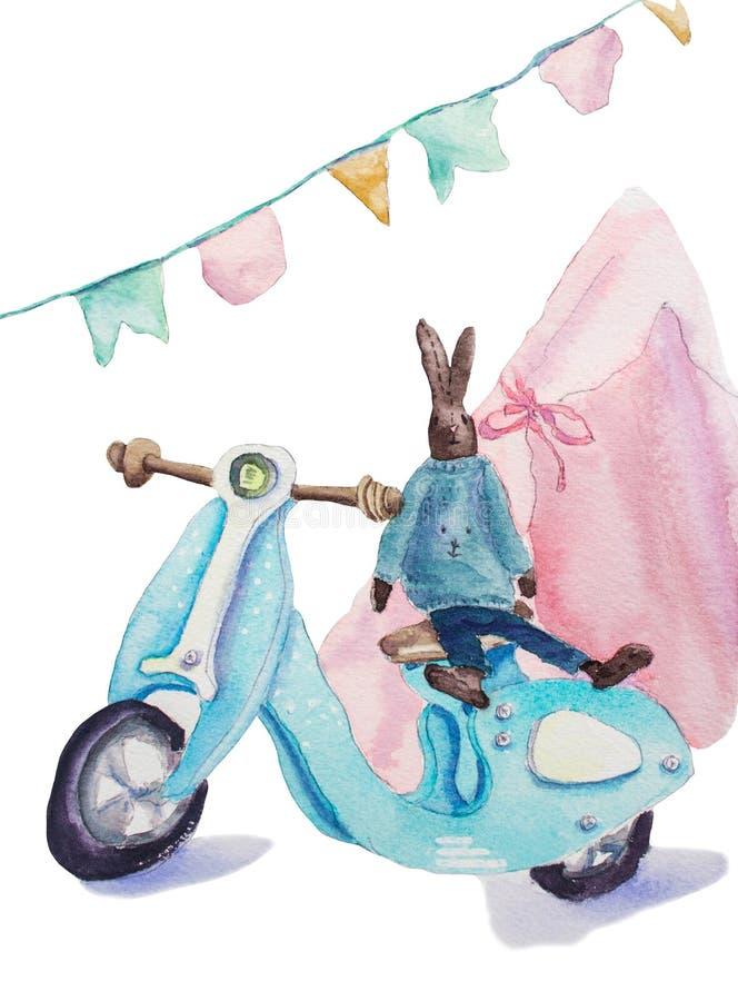 Gullig kaninleksak, träblå sparkcykel och rosa tipi royaltyfri illustrationer