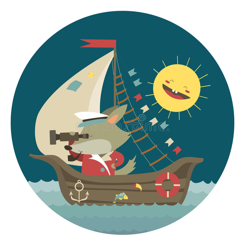 Gullig kaptenvargresande med skeppet på havet royaltyfri illustrationer