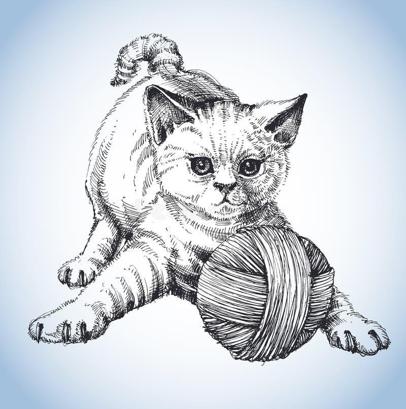 gullig katt stock illustrationer