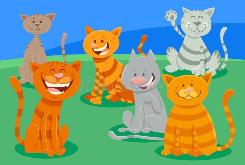 Gullig katt- eller kattungeteckengrupp vektor illustrationer