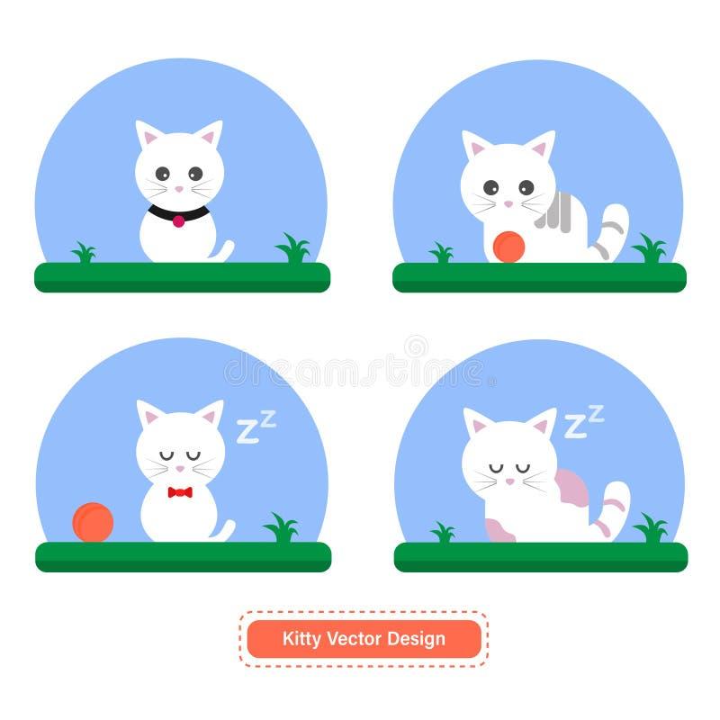 Gullig katt eller Kitty Vector för symbolsmallar eller presentationsbakgrund stock illustrationer